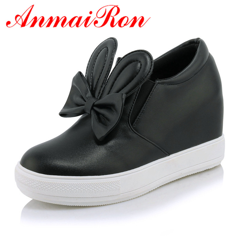 ANMAIRON Women Casual Shoes 2018 New Height Increasing Slip-On Rubber Women Shoes Spring/ Autumn/Winter Platform Sweet Lovely free shipping spring autumn women s flatform casual all match board shoes height increasing shoes