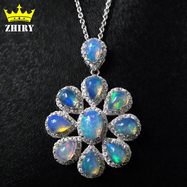 ZHHIRY Natural Fre Opal Necklace Genuine Gem Color Stone 925 Sterling Silver Women Fantastic Jewelry