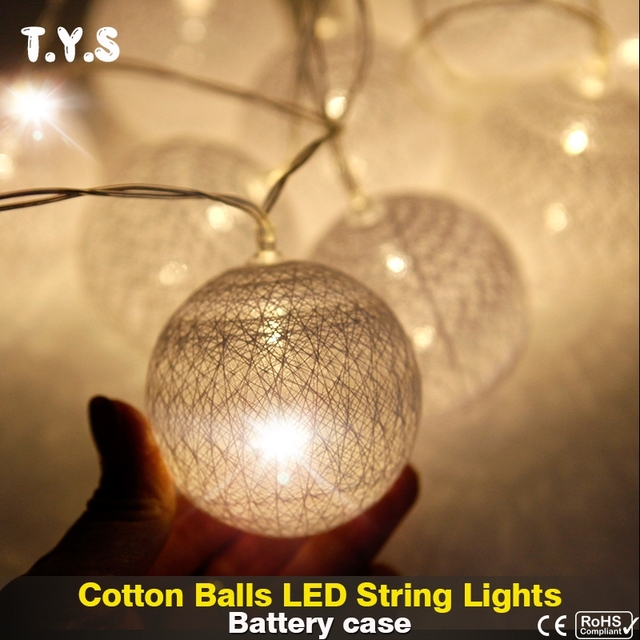 Led Cotton Ball String Lights Battery Christmas Tree Indoor Decoration For Home New Year S Garland Wedding Decor Lighting
