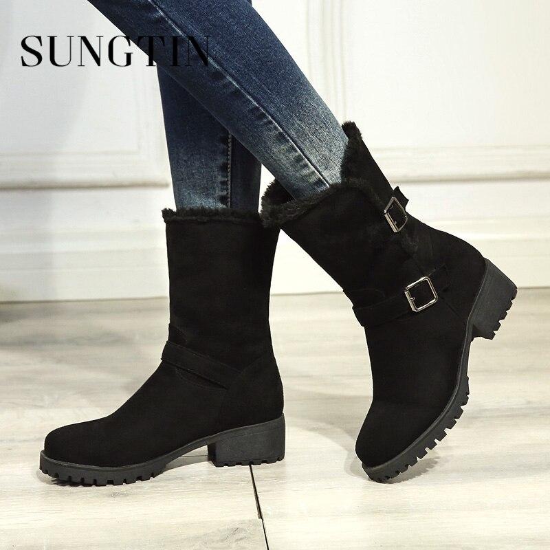 Nuevas Más Mujeres Mantener Botas Nieve Invierno Tamaño Damas gris Casual Felpa 2018 Zapatos Negro Sungtin Beige Ronda Toe Caliente negro Solid ECtq4xwan