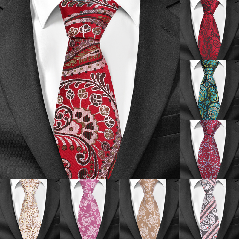 New Casual Floral Ties Jacquard Classic Necktie For Men Suits Mens Business Neck Tie Cravats 8cm Width Groom Neckties