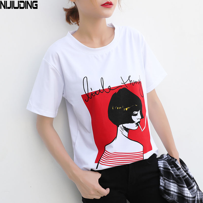 NIJIUDING 2017 Nuovo Design 10 Stili Donna Casual White T Shirt Donna Manica Corta Top Tee Stampato t-shirt Donna dropshipping