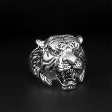 BINQINGZI Brand Titanium Ring Men Tiger King 316L Stainless Steel Ring Animal Jewelry BR1106