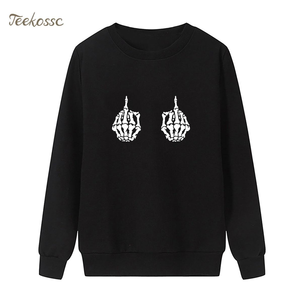 Skull Skeleton Hand Sweatshirt Hip Hop Hoodie New Brand Winter Autumn Women Lasdies Pullover Fleece Loose Punk Rock Streetwear