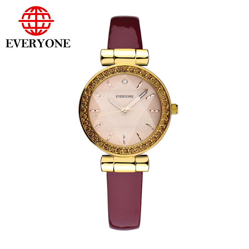 2016 brand everyone women watch quartz luxury relogio masculino waterproof 30 meter watch leather strap watch