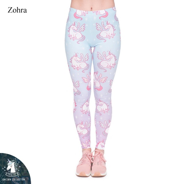 111fc15069b1a9 2017 Light Blue Gradient Workout Fitness Unicorn Cute Pattern 3D Printed Women  Pants Stretchy Standard Ladies Trousers Zohra