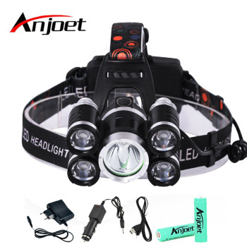Anjoet 15000Lm LED Head Lamp Light XML T6+4R5 Headlamp Rechargeable 18650 Head Flashlight Torch Camping Fishing Hunting Lantern yunmai usb 20000lm 5 new xml t6 2xpe headlamp head lamp lighting light flashlight torch lantern fishing 18650 battery charger