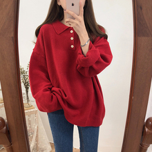 Milinsus Retro solid color Polo neck Harajuku loose lapels Three rows of button puff sleeves Mild in winter women's sweater korean style polo collar solid color button embellished long sleeves cotton blend sweater for men