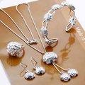 925 серебряных ювелирных изделий устанавливает, Один серебряный цветок розы ожерелье манжеты, Крюк серьги кольцо S272