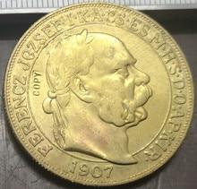 1907 Hungary 100 Korona - I. Ferenc Jozsef Franz Joseph I  .9999 pure Gold Plated Copy Coin