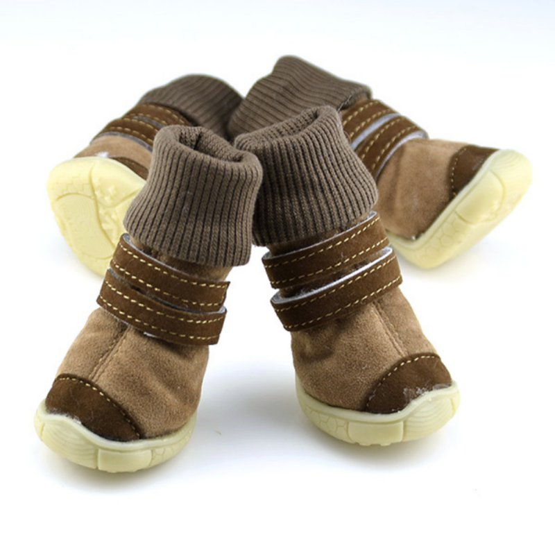 Winter Pet Shoes Anti-slip Cotton Soft Leather Cashmere Booties Warm Boots Belt Dog Shoes Products for Animals Dog Boots Snow