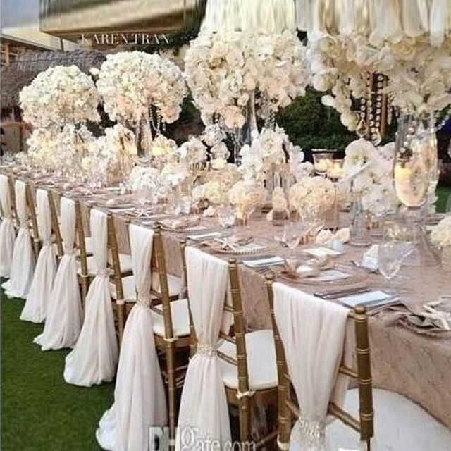 20 Pieces Factory Price Chair Sashes Cover Wedding Decoration Banquet Venue Decoration Chiffon 75*200cm Custom Made Chair Sash