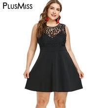 4ee01318e25d PlusMiss Plus Size Malha Rendas Sem Mangas Vestidos de Festa 5XL Tamanho  Grande Pequeno Preto Sexy Clube Mini Vestido Curto XXXX.