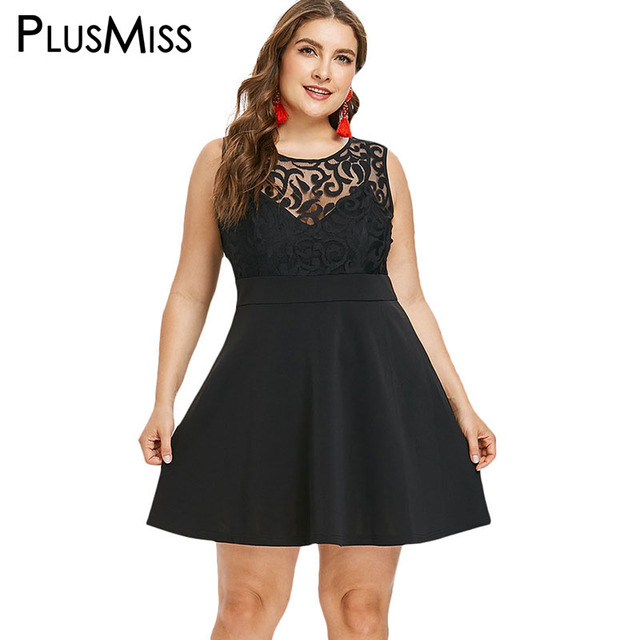 PlusMiss Plus Size Mesh Lace Sleeveless Party Dresses 5XL Big Size Little Black  Sexy Club Mini 14ac6408bfad