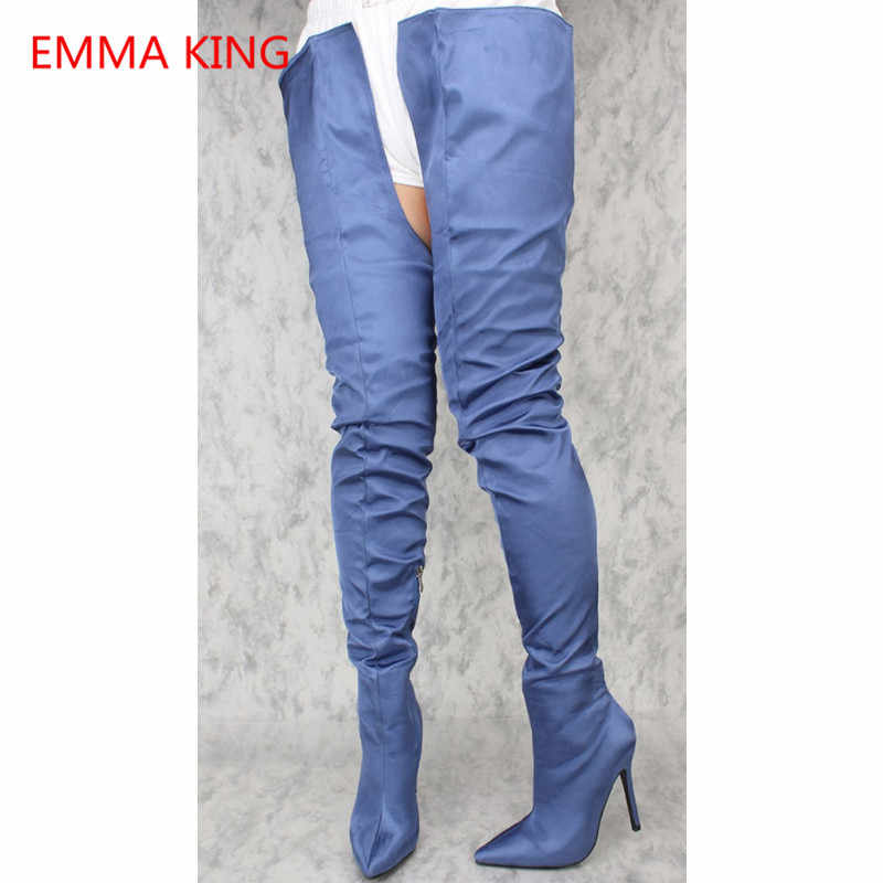f48742a739e7 Emma King 2018 Fashion Women Thigh High Boots Crotch Stiletto Sexy Woman  High Heels Shoes Denim