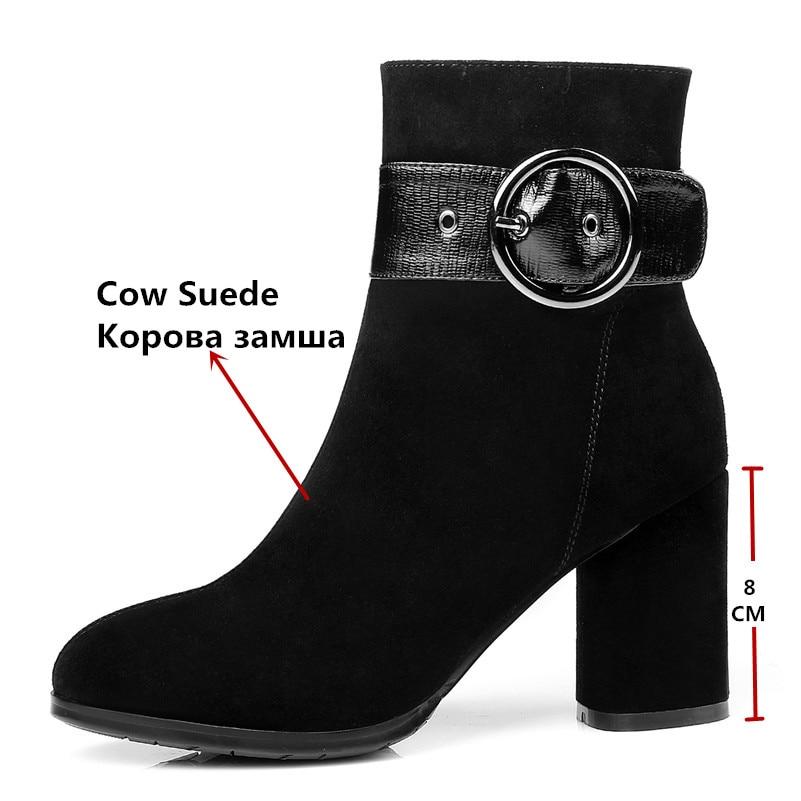 Daim Hauts Automne Neige Chaussures De Femme Hiver Vache Talons Bottes En Femmes Vintage Cheville Zipper Mode Conasco Martin Courtes Noir v80NwmnO