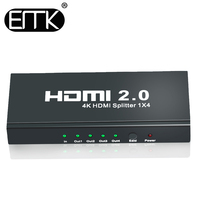 EMK 1x4 HDMI 2.0 4K Splitter 1 in 4 out Switch adapter with Power Supply Support 1080P 3D for DVD HDTV STB XBOX HDCP 60Hz PS4