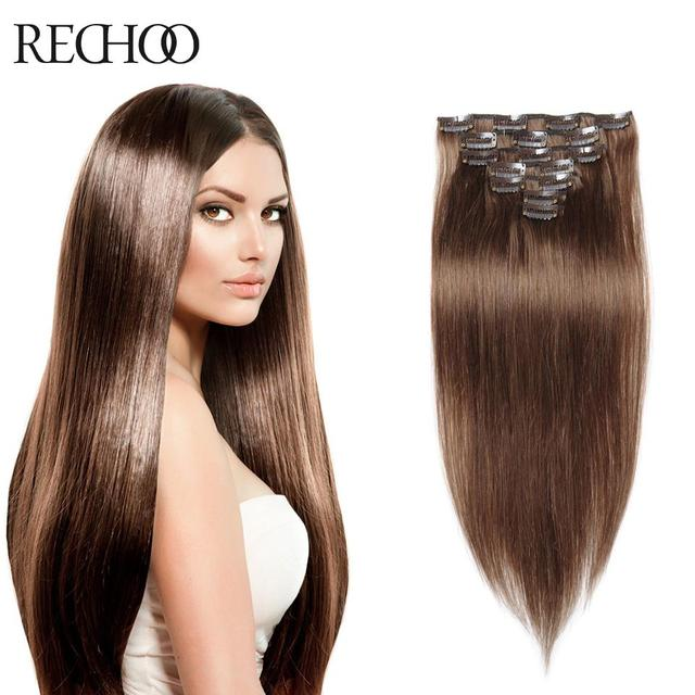 Clip In Human Hair Extensions Brown Color 7 8 10 Pieces 70g 100g