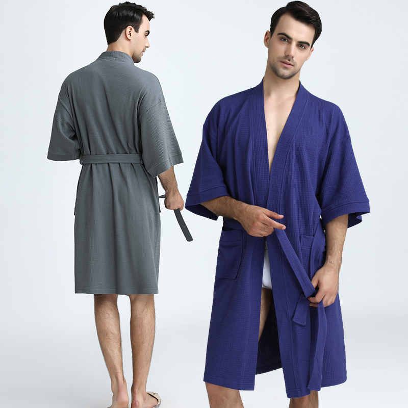 Men 100% Cotton Plus Size Water Absorption Waffle Kimono Bath Robe Summer Towel Dressing Gown Women Male Knee Length Bathrobe
