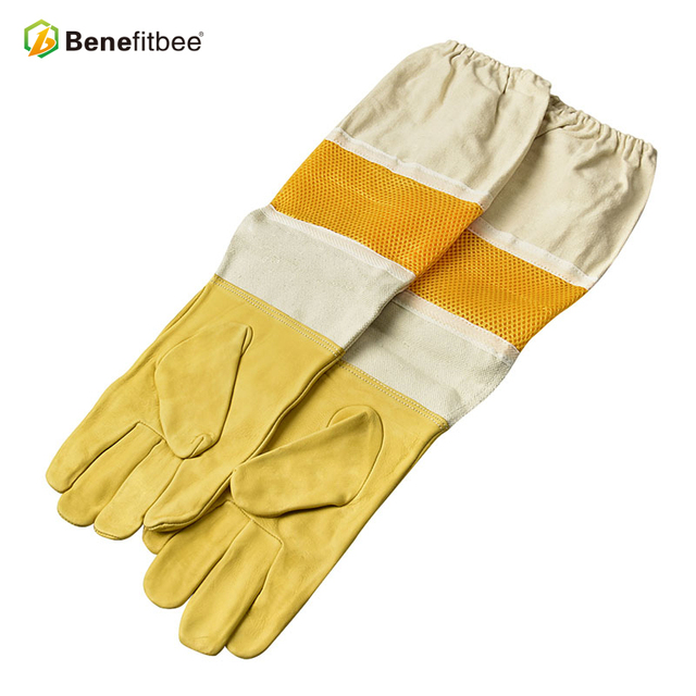 Top Brand Benefitbee Bee Gloves Beekeeping Glove Sheepskin New Vented Mesh Gloves with Long Sleeves Apicultura Bee Equipment