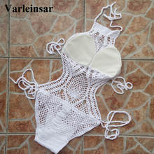 Women Bikini Crochet Mesh High Neck Monokini Varleinsar Handmade