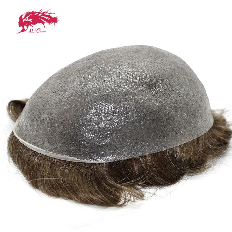 Alibaba グループ 上の アリクイーン髪薄皮 0.08 0.1 ミリメートルメンズかつら 8 × 10 インチ髪の交換システム純粋な手作り男性かつら 100% 自然の Remy 毛 1