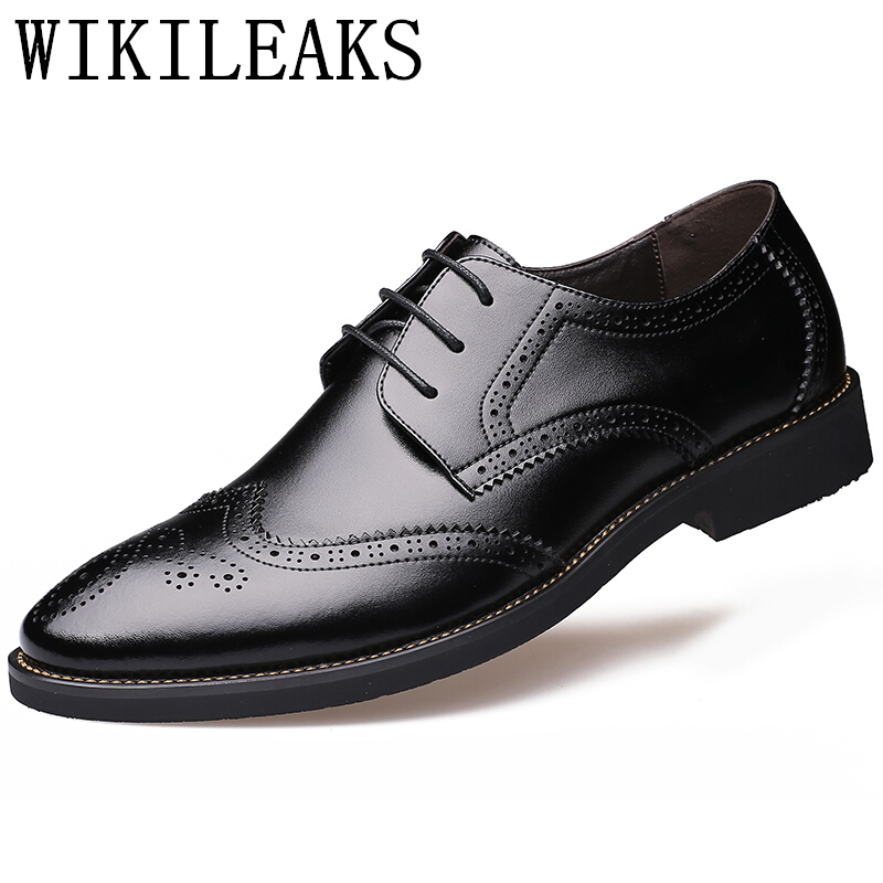 Italian Genuine Leather formal shoes men erkek ayakkabi elegant derby brogue wedding shoes mens oxford pointed toe dress shoes