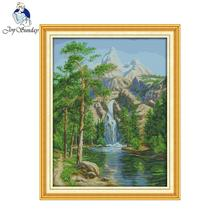 Joy sunday scenic style High mountain and flowing water popular cross stitch kit for house ornament