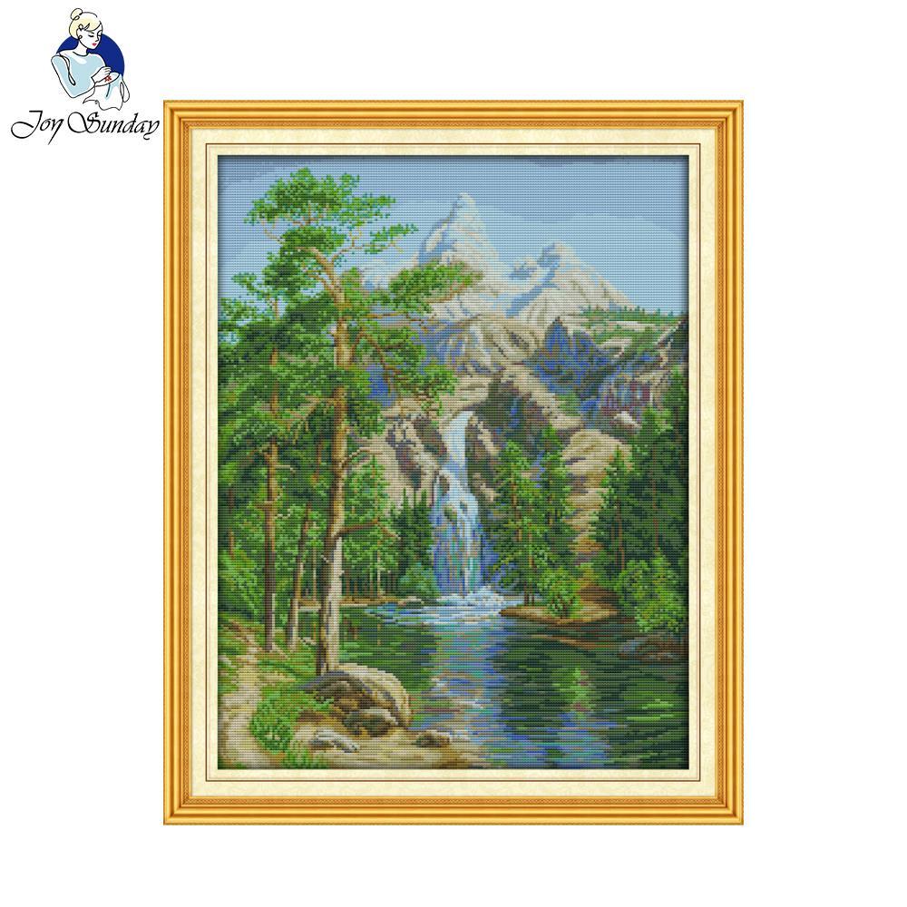 Öröm vasárnap festői stílus Magas hegyi és áramló víz népszerű keresztszemes kit a ház díszítésére