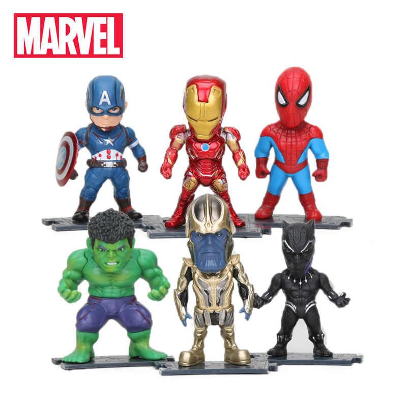 6 pçs/set Marvel Brinquedos 8-10 centímetros Vingadores Thanos Infinito Guerra Ironman Spiderman Capitão Hulk Pantera Negra Ação PVC figuras Modelo
