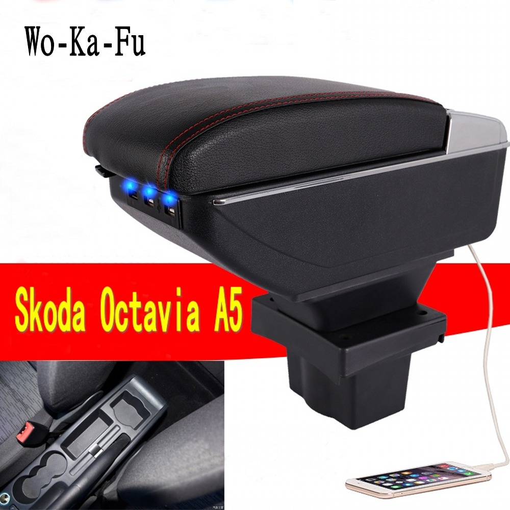 For Skoda Yeti Octavia A5 Armrest Box Central Store Content Box Storage Case USB Interface Decoration Accessories 2008-2010