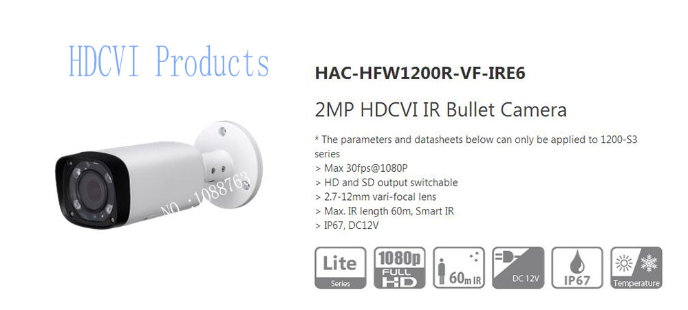 все цены на Free Shipping DAHUA Security Camera CCTV 2MP HDCVI IR Bullet Camera Without Logo HAC-HFW1200R-VF-IRE6 онлайн