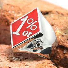 316L Stainless Steel Red Polishing Biker 1%er Ring Mens Motorcycle 1%er Biker Ring Cool