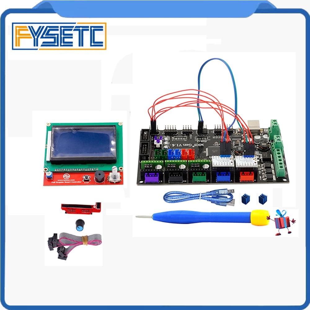 1PC MKS Gen V1.4 3D Printer 4 Layers PCB Controller Board + 2PCS TMC2130 V1.1 SPI Silent Driver+ 12864 Graphic LCD Set стоимость