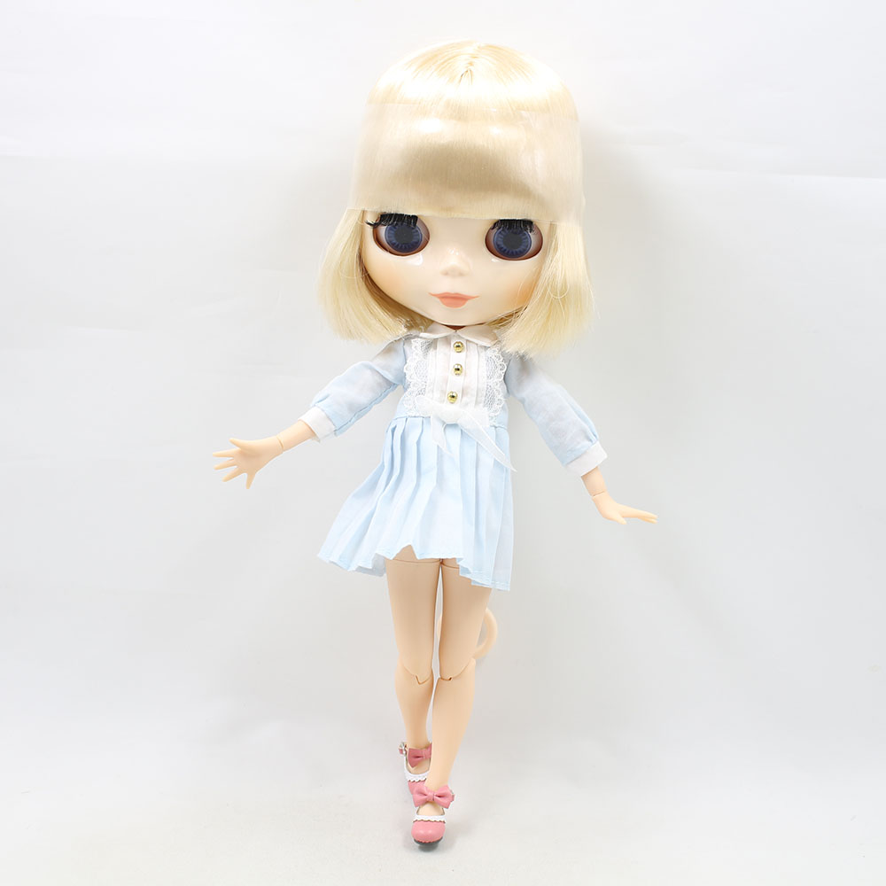 Neo Blythe Doll with Blonde Hair, White Skin, Shiny Face & Jointed Body 3