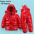 Rusia Invierno ropa infantil establece Niña conjunto traje de Esquí deporte muchachos Mono de nieve Chaquetas/abrigos + pantalones del babero 2 unids conjunto