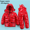 Russia Winter children clothing sets Girl Ski suit set sport boys Jumpsuit snow Jackets/coats+ bib pants 2pcs set