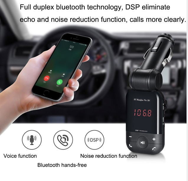 New 12V-24V auto stereo bluetooth hands free car kit FM transmitter U disk TF card MP3 music player voiture bluetooth telephone 14