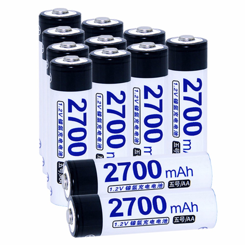Real capacity! 12 pcs AA 1.2V NIMH AA rechargeable batteries 2700mah for camera razor toy remote control flashlight 2A batterie