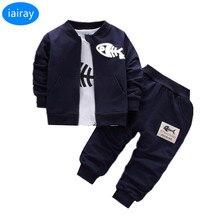 Купить с кэшбэком iairay 3pcs baby coat+shirt+pants baby boy clothes set infant boy tracksuit spring autumn baby suit baby jacket trousers set