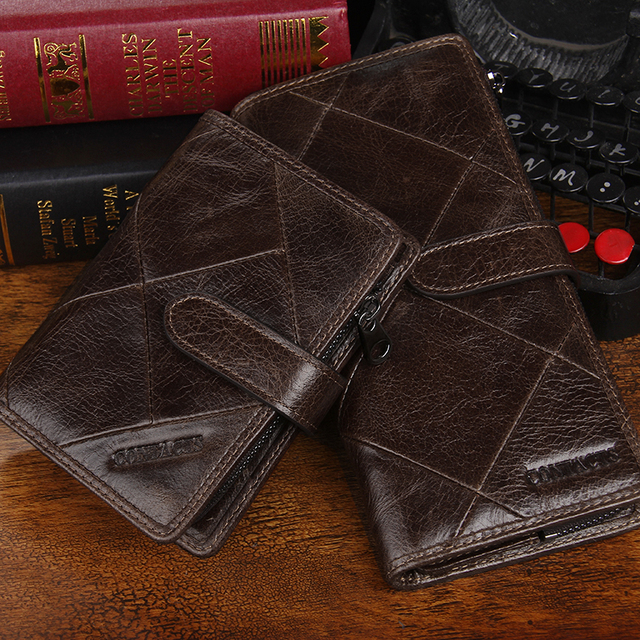 CONTACT'S New Fashion Men Wallet Long Genuine Leather For Male Luxury Brand Purses and Female Clutch Wallets With Coin Pockets 5