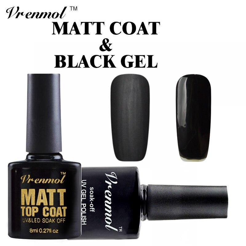 Vrenmol Clear Matte Top Coat + Black Color Gel Polish Nail Art Set ...