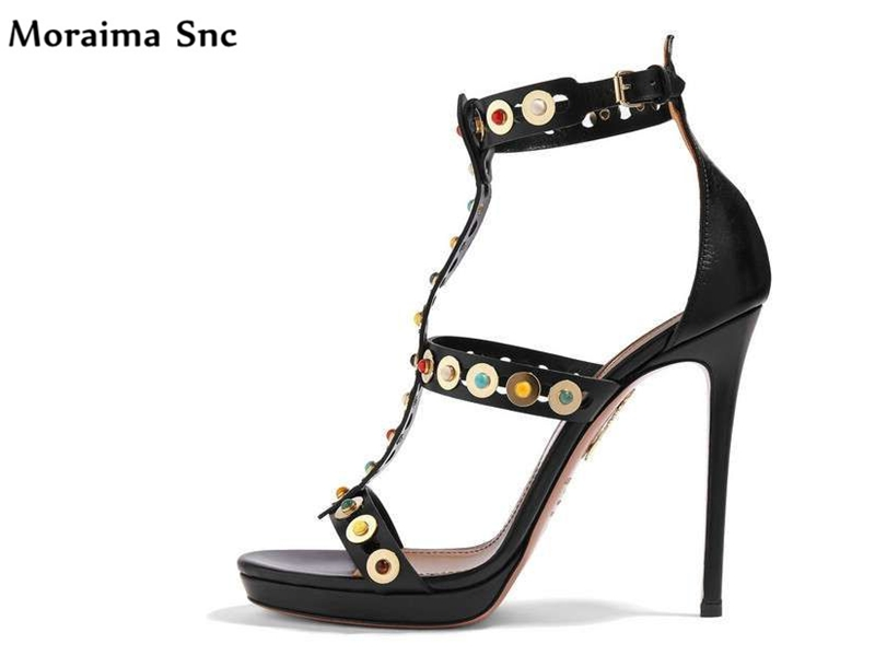 Moraima Snc Newest sexy women sandals colorful bead high platform open toe Ankle strap buckle thin high heel party shoes moraima snc newest sexy women black string bead concise type sandals open toe thin high heel ankle strap hook solid party shoes