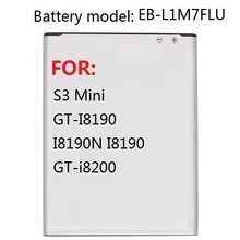 Replacement Battery EB-L1M7FLU For Samsung Galaxy S3 Mini S3Mini GT-I8190 I8190N I8190 GT-i8200 1500mAh