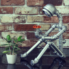 Retro industrial humanoid water pipe table lamps for living room Led Bed lamp bedside light table light MING(China)
