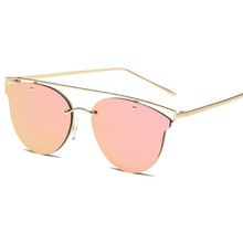 Fashion Brand Sunglasses For Women Glasses Cat Eye Sun Glasses Male Mirror Sunglasses Men Glasses Female Vintage Metal Glasses