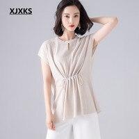 XJXKS 2019 summer new sleeveless women's T shirt comfortable linen fashion belt high quality casual T shirt women top