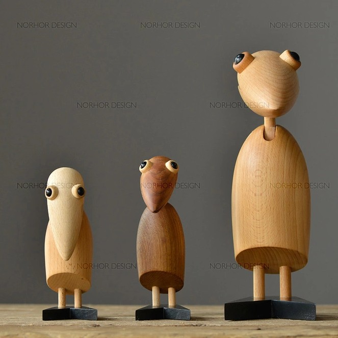 Modern minimalist classic wood carving / puppet / Creative animal ornaments / gift / Woodpecker 3