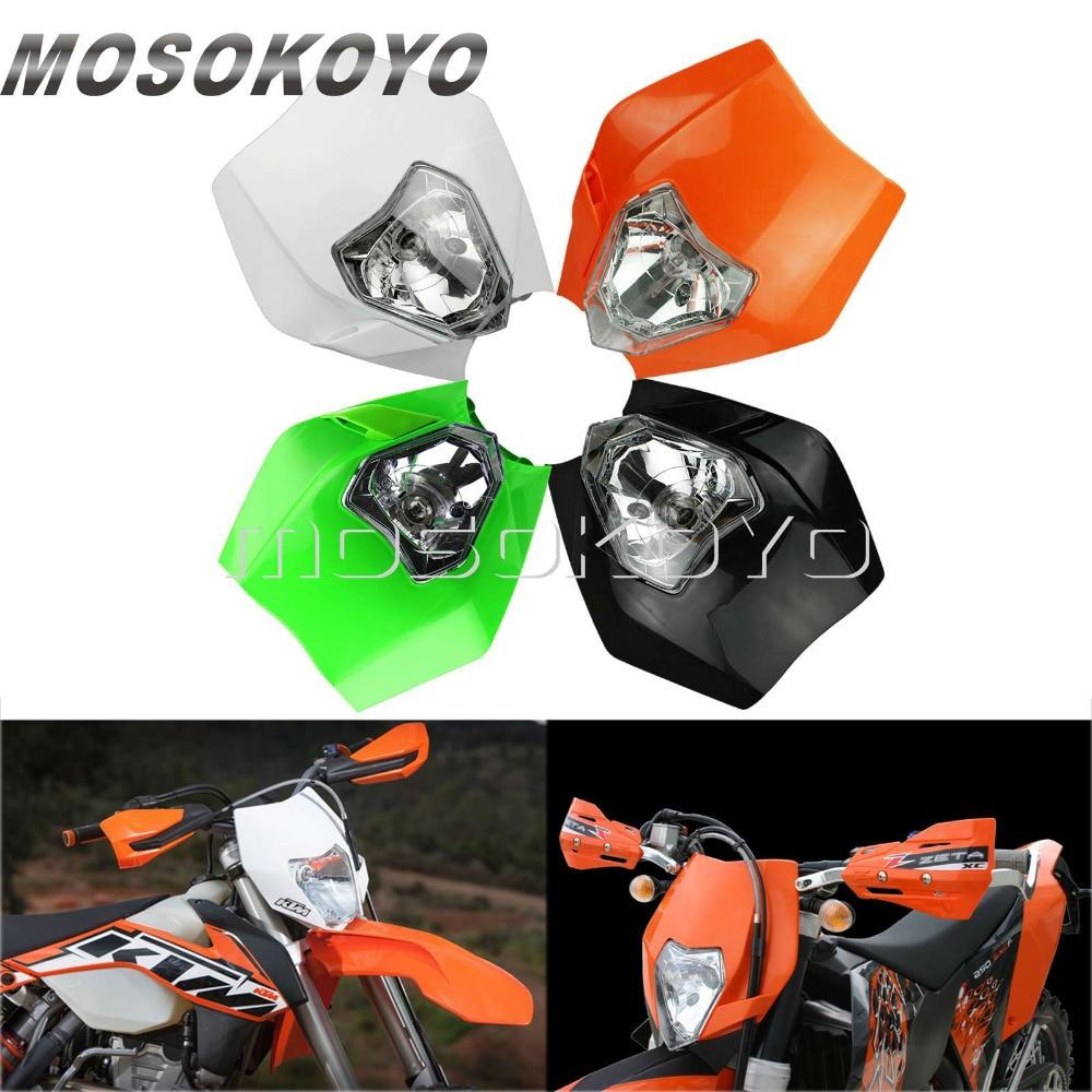 Orange White Black Motocross Headlight Dirt Bike Enduro Head Lamp for KTM XC-W EXC XCF SX 125 250 350 450