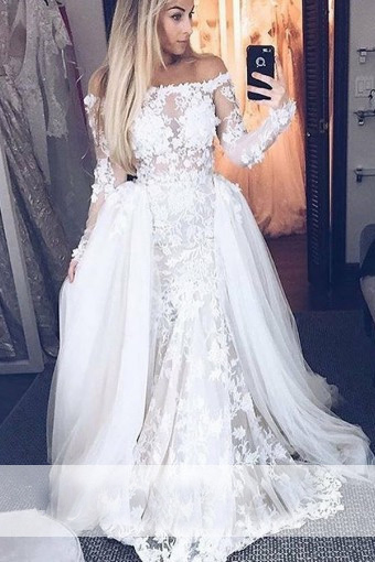 Detachable Train Vestido De Noiva Muslim Wedding Dress Mermaid Long Sleeves Illusion Lace Dubai Arabic Wedding Gown Bridal Dress